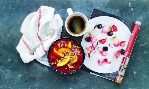 Healthy banana beetroot smoothie bowl